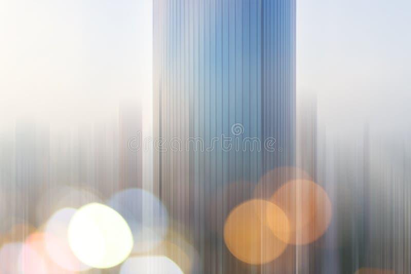 Fond futuriste urbain d'architecture de ville moderne abstraite d'affaires Concept d'immobiliers, tache floue de mouvement, réfle photos libres de droits