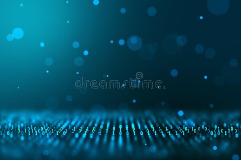 Fond généré par ordinateur de concept binaire du monde de technologie d'informations numériques images libres de droits