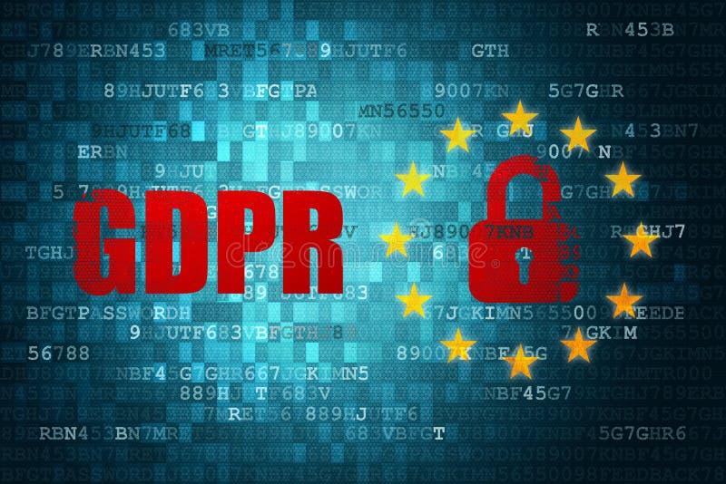 Fond général de technique de protection d'UE d'Union européenne du règlement GDPR de protection des données illustration de vecteur
