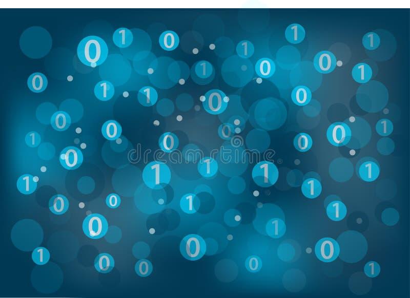Fond générique de technologie de l'information (service informatique) avec des zéros et ceux flottants autour à illustration stock