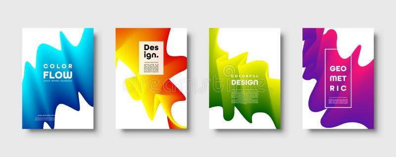 Fond géométrique à la mode de résumé avec le gradient hydraulique Vague dynamique bleue, rouge, jaune et verte colorée de courbe illustration stock
