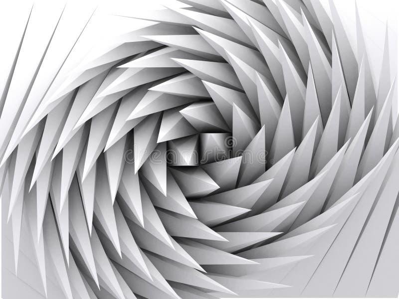 Fond géométrique abstrait, art 3d blanc illustration stock