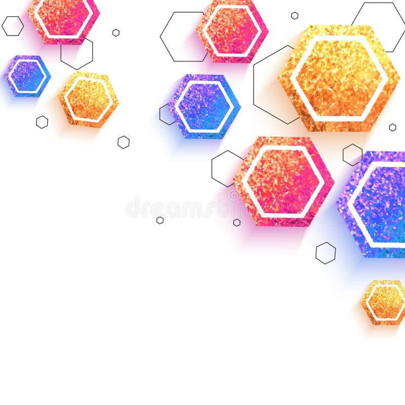 Fond géométrique abstrait avec des hexagones éclatants illustration stock