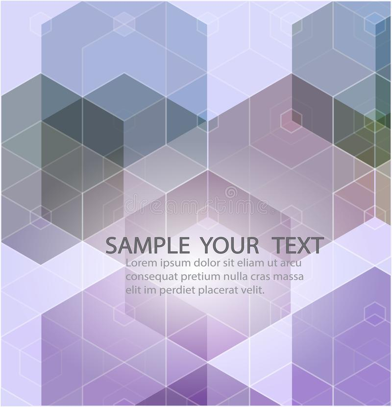 Fond géométrique abstrait avec des hexagones lilas Avec un exemple de texte illustration de vecteur
