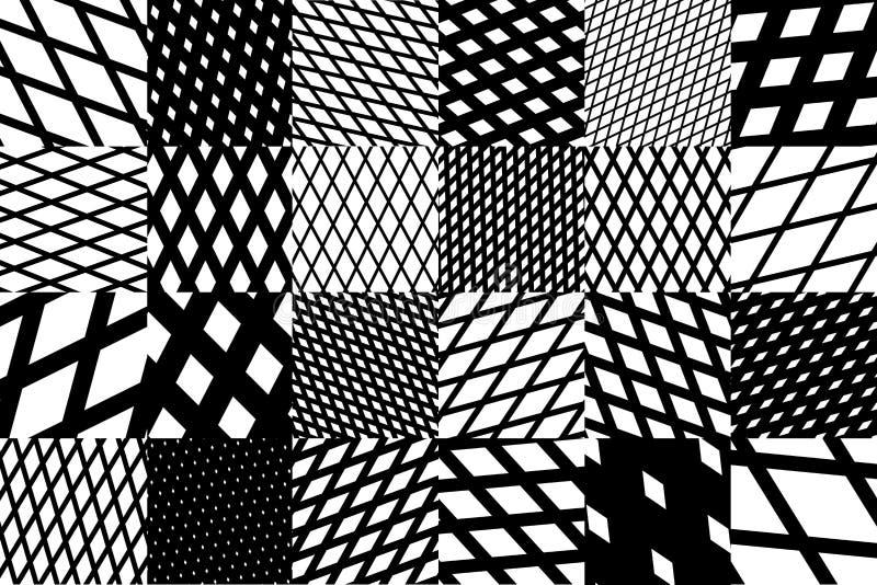 Fond géométrique abstrait avec le modèle rayé diagonal croisé noir et blanc illustration libre de droits
