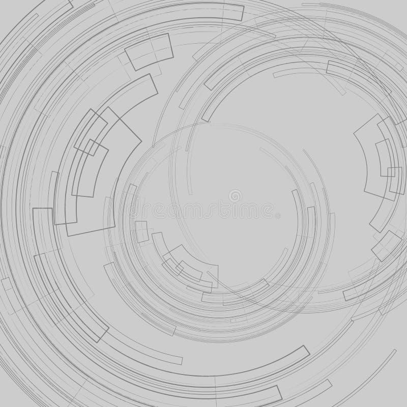 Fond géométrique abstrait avec les cercles foncés de cercles concentriques sur les lignes géométriques d'une décoration graphique illustration stock