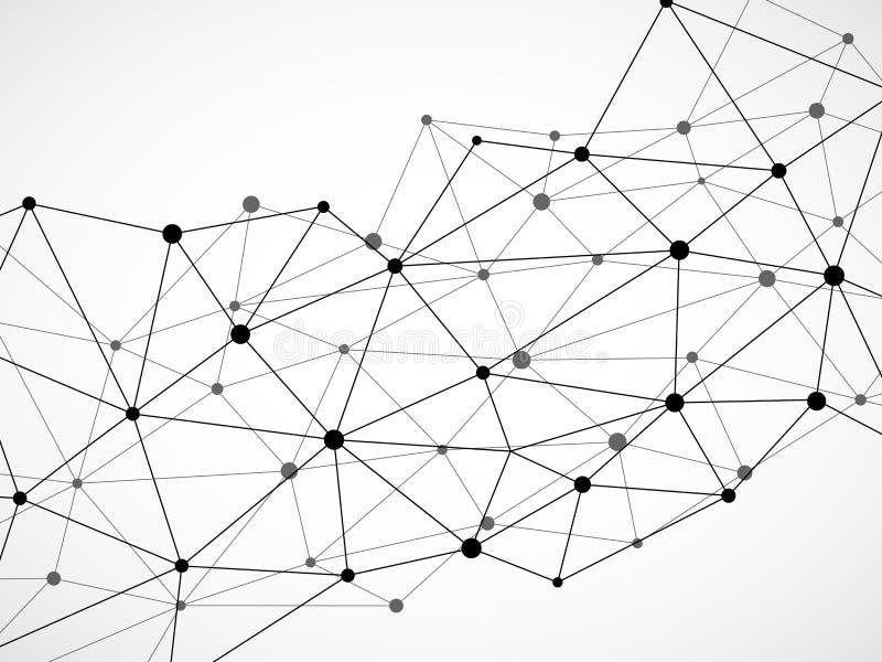 Fond géométrique abstrait avec les points et les lignes se reliants Concept moderne de technologie illustration de vecteur