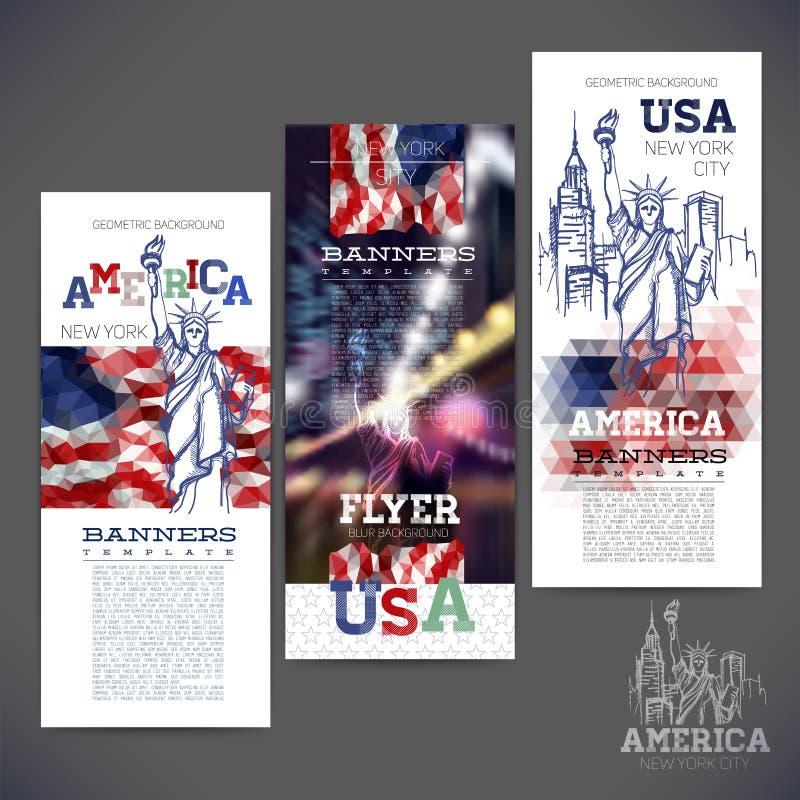 Fond géométrique abstrait, bannières, drapeau des Etats-Unis illustration libre de droits