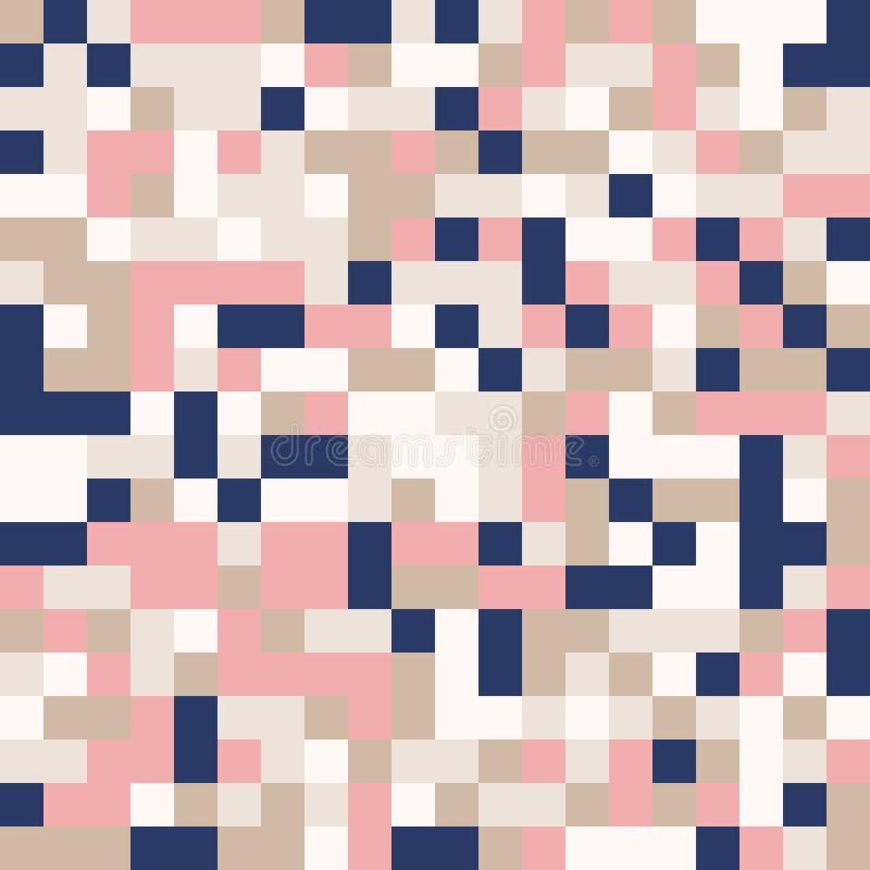 Fond géométrique abstrait coloré aléatoire de modèle de mosaïque de pixel illustration stock