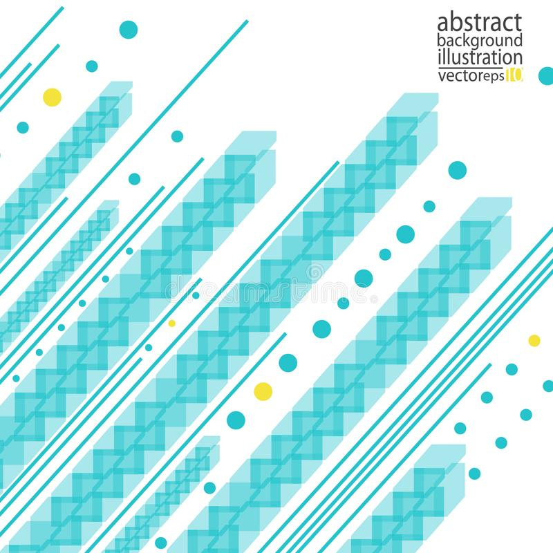Fond géométrique abstrait des bandes des lignes de cercles et de vecteur bleu-jaune de formes illustration stock