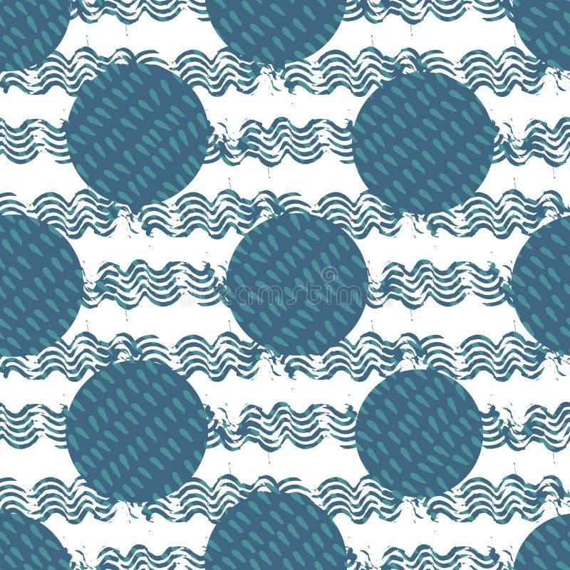 Fond géométrique abstrait des cercles remplis de formes de baisse entouré par des vagues de brosse d'encre Symbole pour l'élément illustration de vecteur