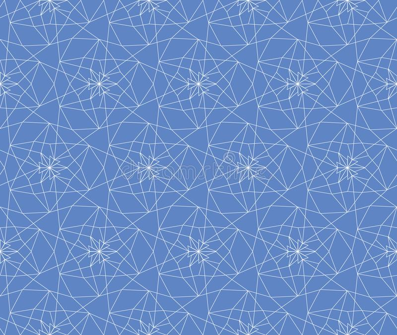 Fond géométrique abstrait linéaire sans couture blanc et bleu de modèle de trellis pour le tissu, papier peint, scrapbooking illustration de vecteur