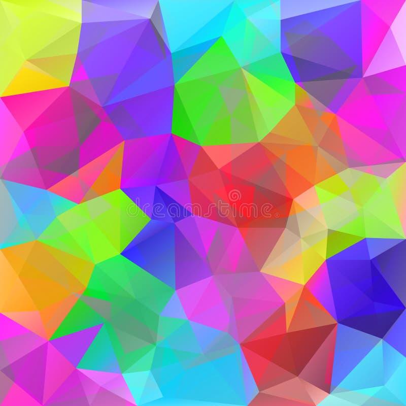 Fond géométrique abstrait lumineux Modèle polygonal Couleurs d'arc-en-ciel Spectre de couleur Milieux triangulaires géométriques illustration de vecteur