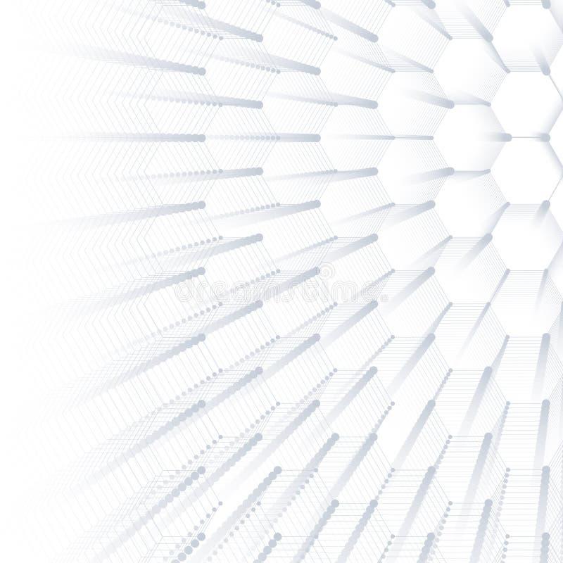 Fond géométrique abstrait, texture hexagonale Grands visualisation de données et fond de communication dessin illustration de vecteur