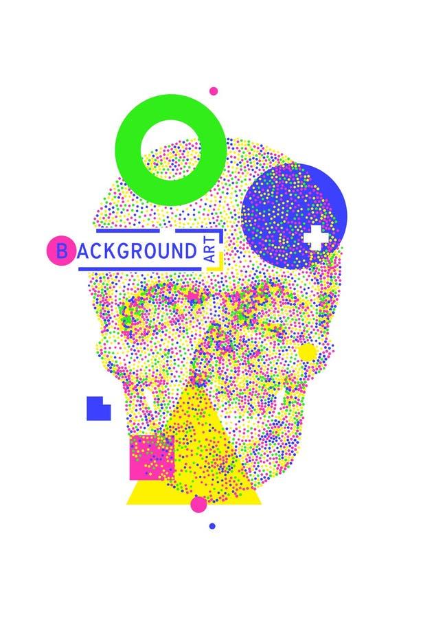 Fond géométrique avec le crâne coloré illustration de vecteur