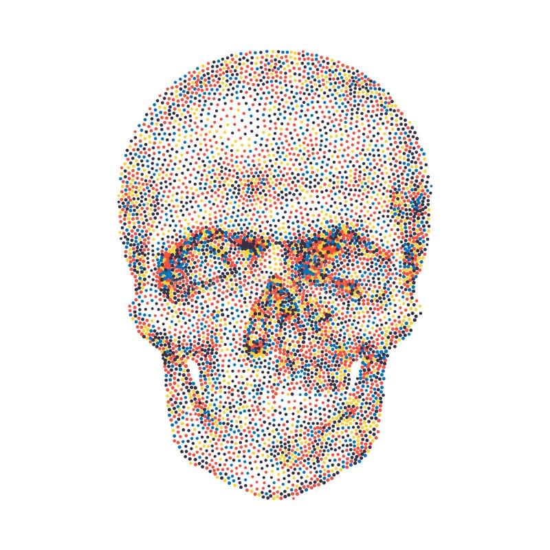 Fond géométrique avec le crâne coloré illustration stock