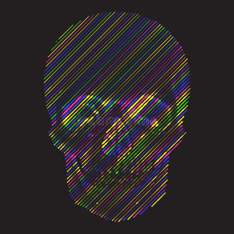 Fond géométrique avec le crâne coloré illustration libre de droits