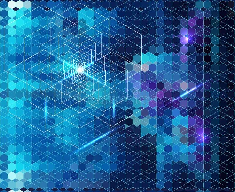 Fond géométrique bleu abstrait avec la lueur illustration stock