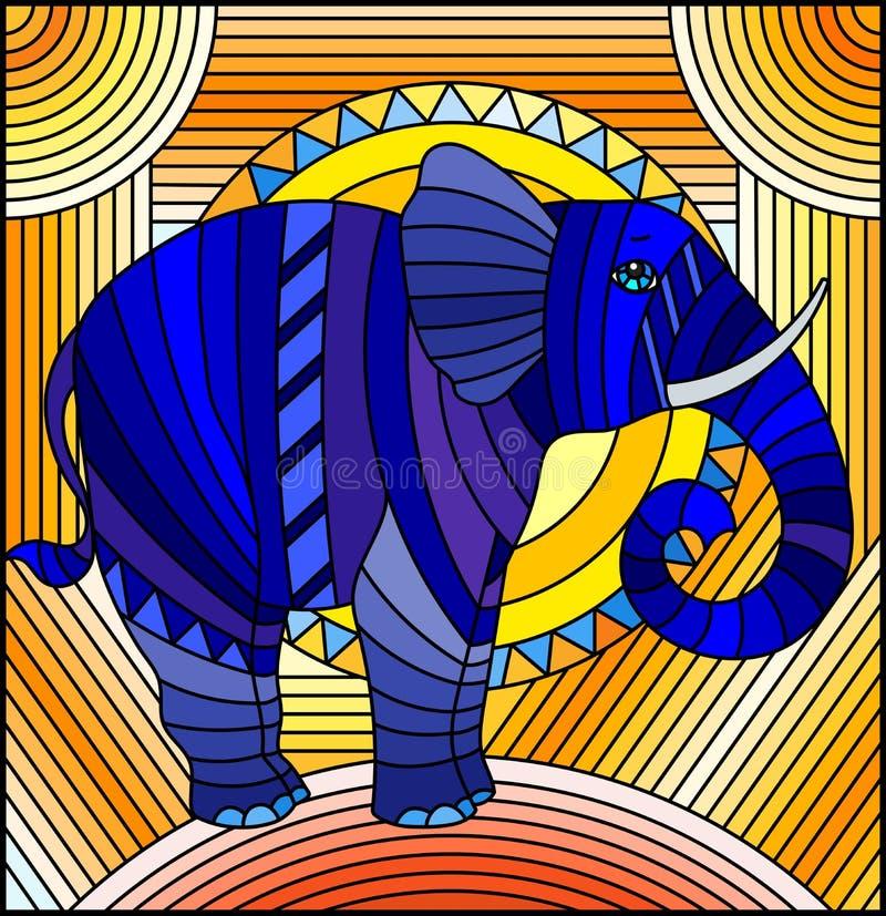 Fond géométrique bleu d'abrégé sur éléphant d'illustration en verre souillé avec le soleil sur un fond orange illustration stock