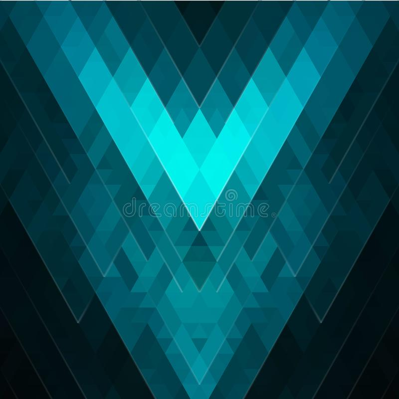 Fond géométrique d'émeraude-turquoise de résumé des losanges et des places Modèle polygonal lumineux texturisé effet de lueur illustration de vecteur
