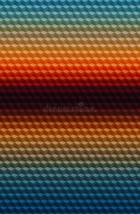 Fond géométrique d'abrégé sur modèle du cube 3D, insecte de mosaïque illustration libre de droits