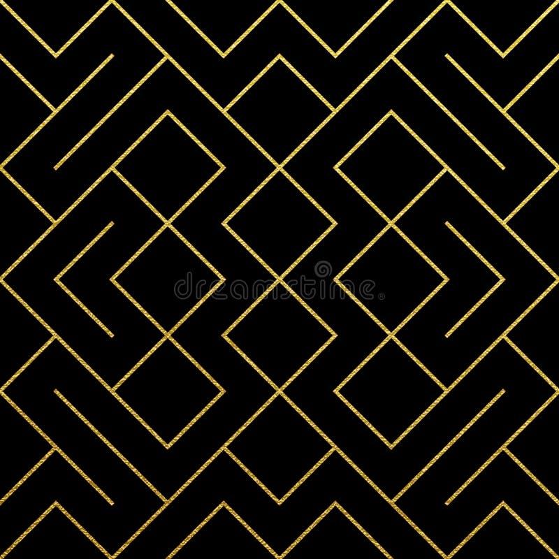 Fond géométrique d'or de modèle avec la texture abstraite de maille de scintillement d'or Dirigez le modèle fleuri sans couture d illustration de vecteur