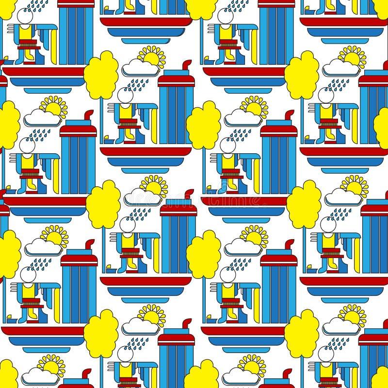 Fond géométrique de bauhaus abstrait dans le rétro style moderne illustration stock