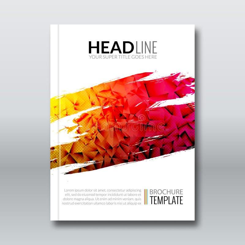 Fond géométrique de conception de prospectus de triangle colorée de rapport de couverture, magazine d'insecte de couverture, cali illustration stock
