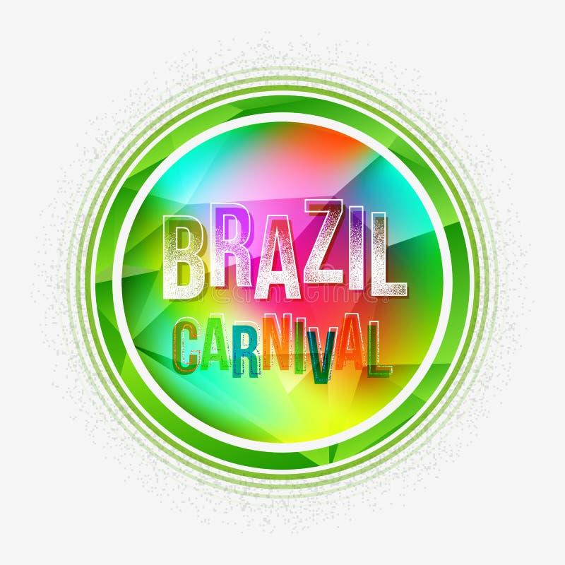 Fond géométrique de lettre de partie de carnaval du Brésil avec la couleur de spectre illustration stock