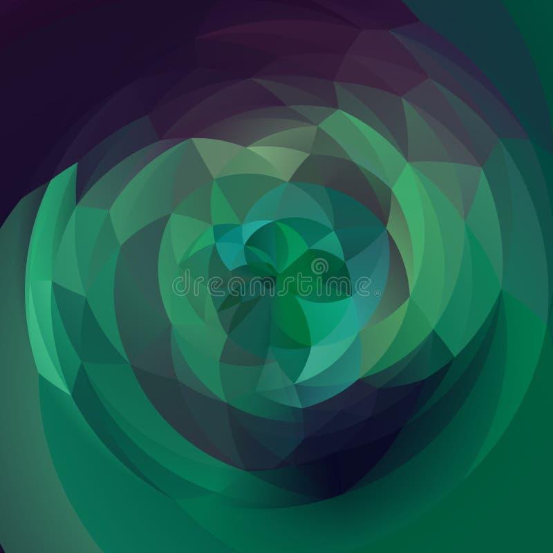 Fond géométrique de remous d'art abstrait - vert vert et pourpre colorés illustration stock