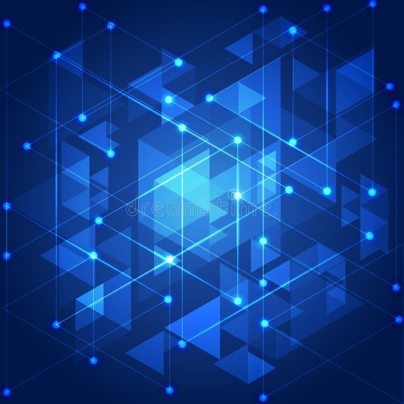 Fond géométrique de technologie bleue abstraite, illustration illustration de vecteur
