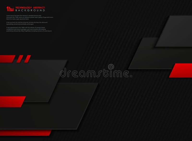Fond géométrique de vecteur de technologie de calibre géométrique noir rouge abstrait de gradient Vecteur eps10 d'illustration illustration stock