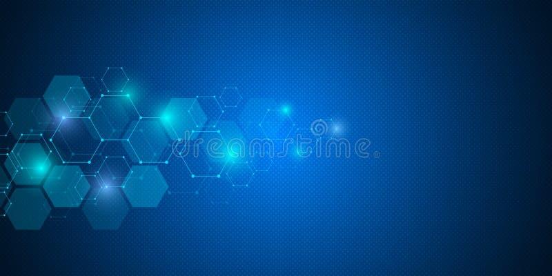 Fond géométrique des hexagones Structure moléculaire abstraite et éléments chimiques Médical, la science et technologie illustration de vecteur