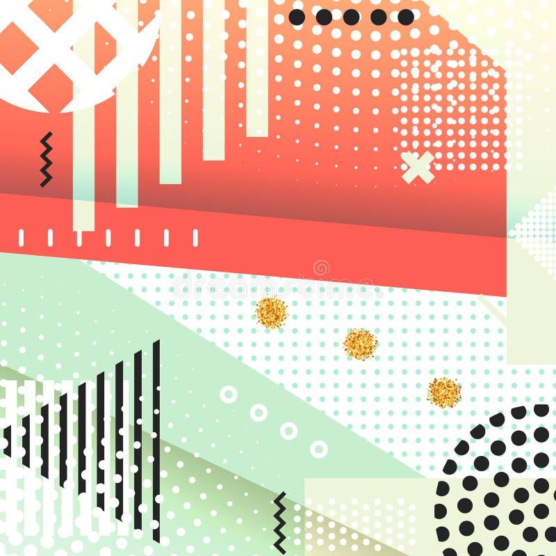 Fond géométrique Memphis de symboles pour la mode illustration stock