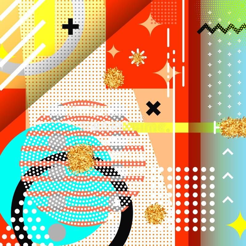 Fond géométrique Memphis de symboles pour la mode illustration de vecteur
