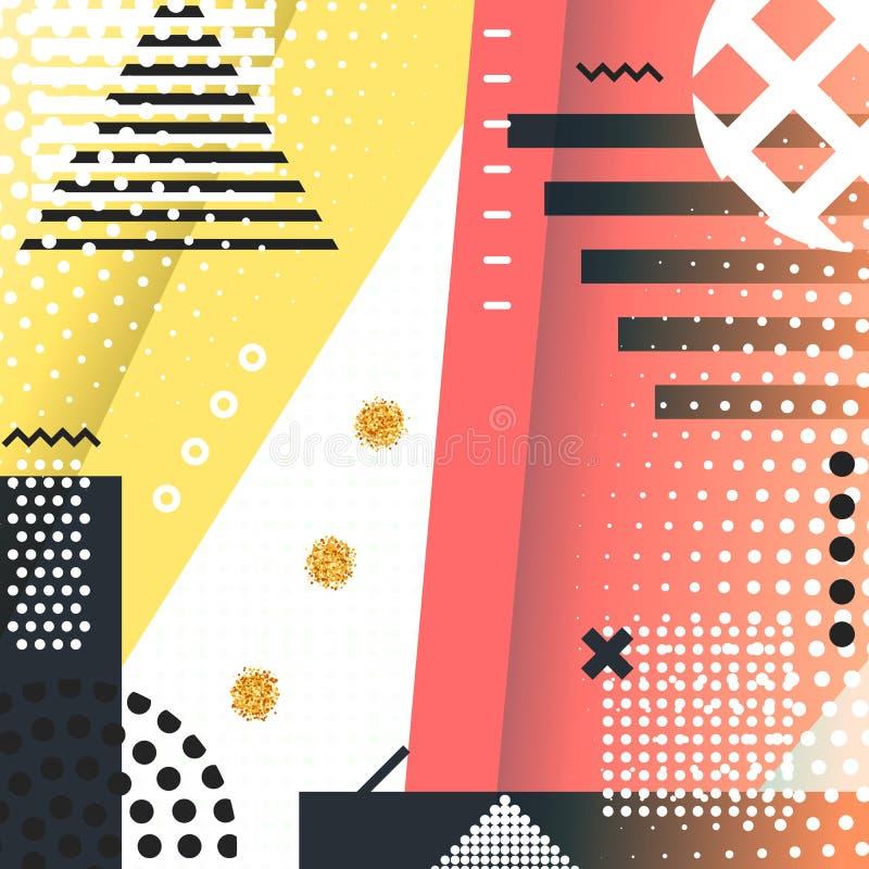 Fond géométrique Memphis de symboles pour la mode illustration libre de droits