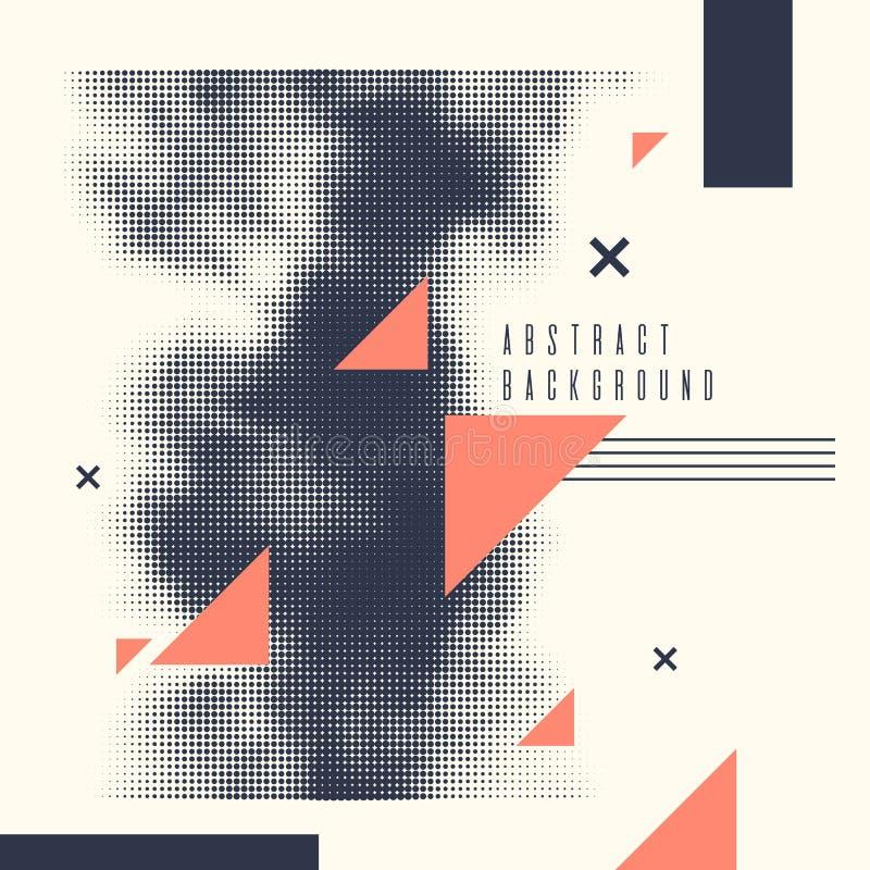 Fond géométrique moderne d'art abstrait avec l'appartement Affiche de vecteur avec l'élément tramé illustration de vecteur