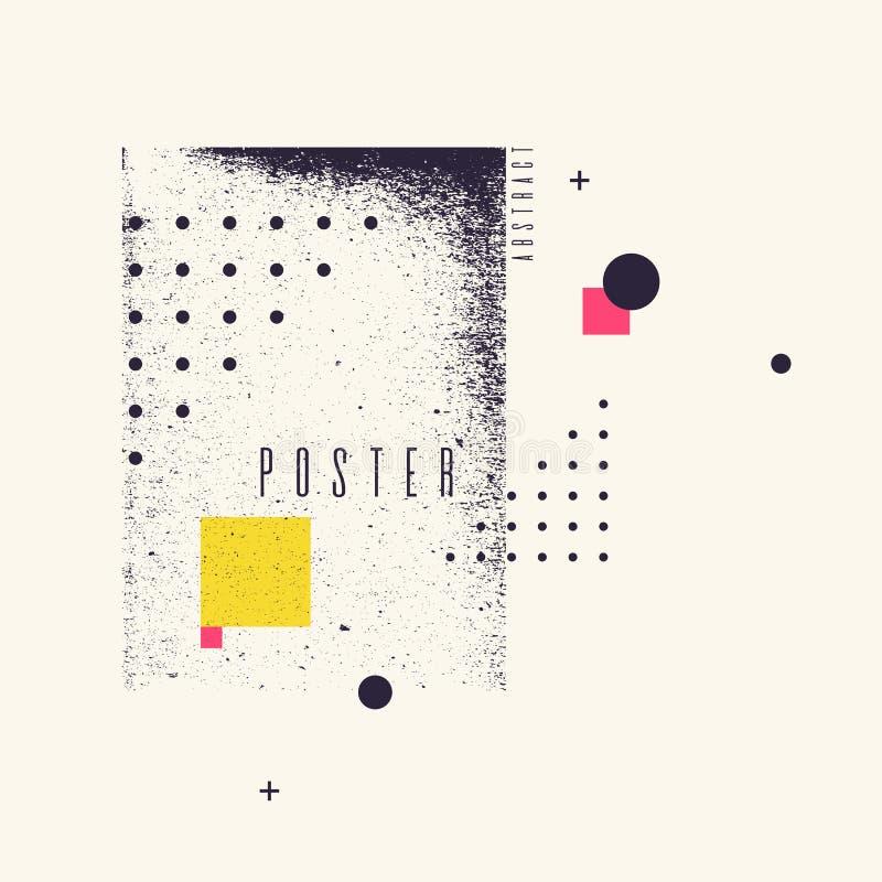 Fond géométrique moderne d'art abstrait avec le style plat et minimalistic Affiche de vecteur illustration stock