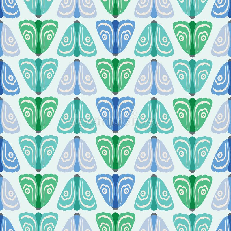 Fond géométrique sans couture de modèle des mites vertes et bleues dans les rangées Un fond de vecteur de nature des insectes illustration stock