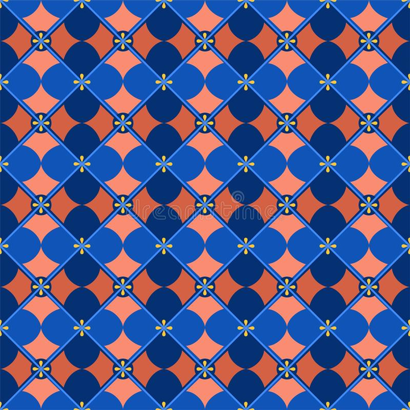 Fond, géométrique sans couture, pétales, bleu et rose illustration libre de droits
