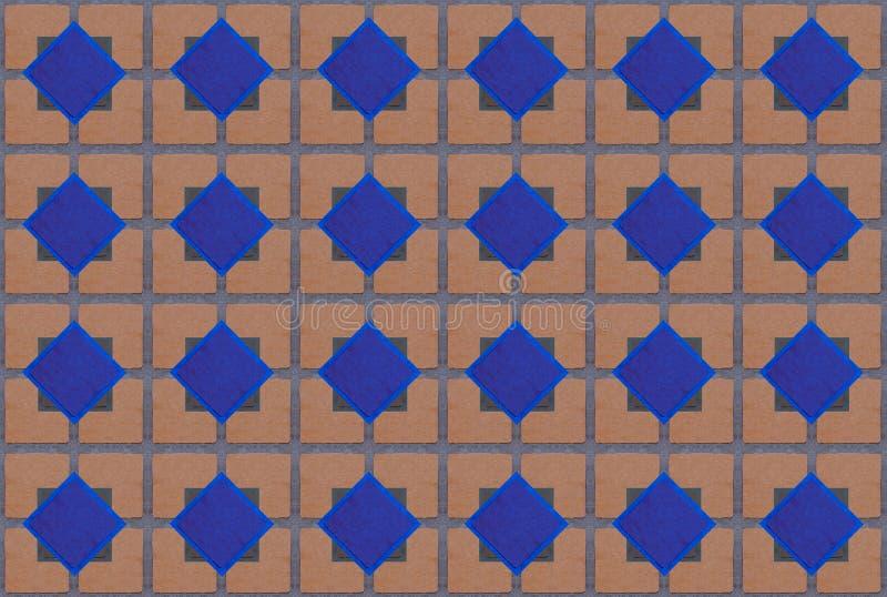 Fond géométrique sans fin de tuile de brique de diamant de modèle bleu bas de centre illustration libre de droits