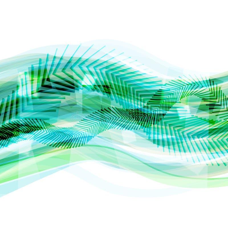 Fond géométrique vert abstrait avec les lignes mobiles illustration libre de droits