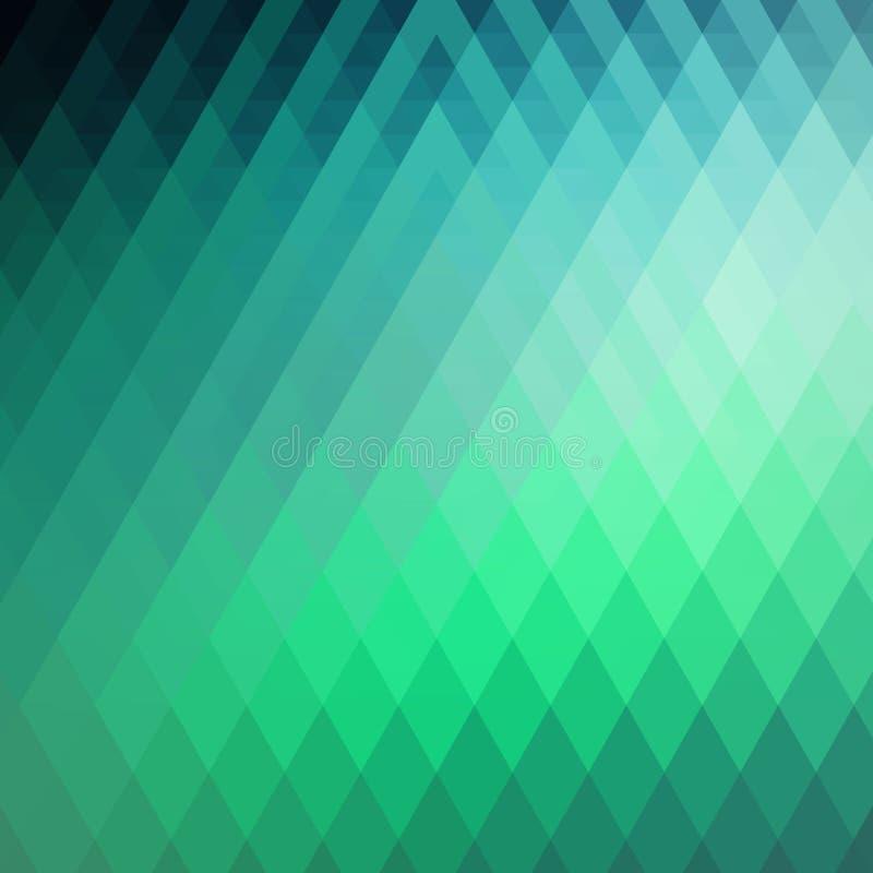 Fond géométrique vert et vert abstrait des triangles Mosaïque colorée des formes symétriques Tons et gradient doux de couleur illustration stock