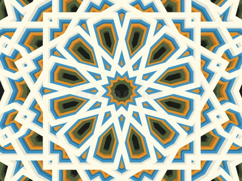 Fond géométrique volumétrique abstrait de vecteur Basé sur les ornements ethniques islamiques 3d a expulsé des éléments d'ornemen illustration de vecteur