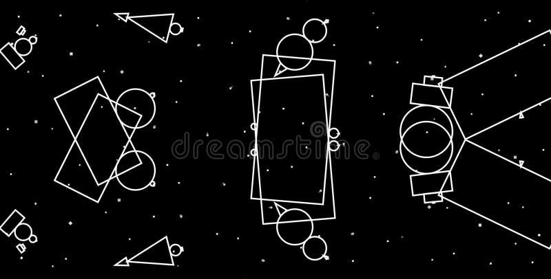 Fond g?om?trique de gamme de gris abstraite Conception créative de formes géométriques avec le fond noir illustration de vecteur