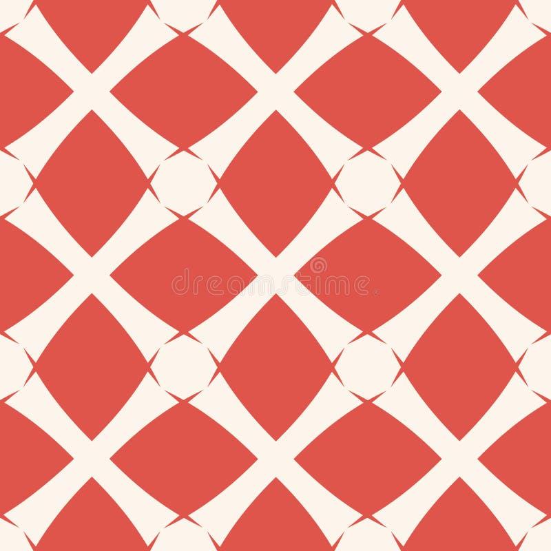 Fond g?om?trique de grille de vecteur Mod?le sans couture rouge et blanc abstrait illustration de vecteur