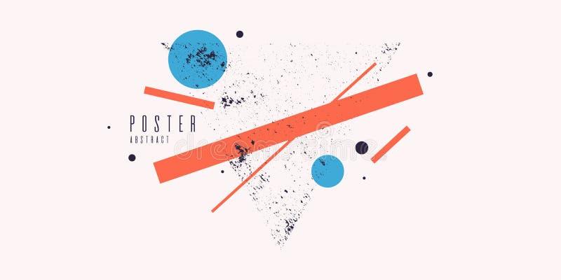 Fond g?om?trique moderne d'art abstrait avec le style plat et minimalistic Affiche de vecteur illustration libre de droits