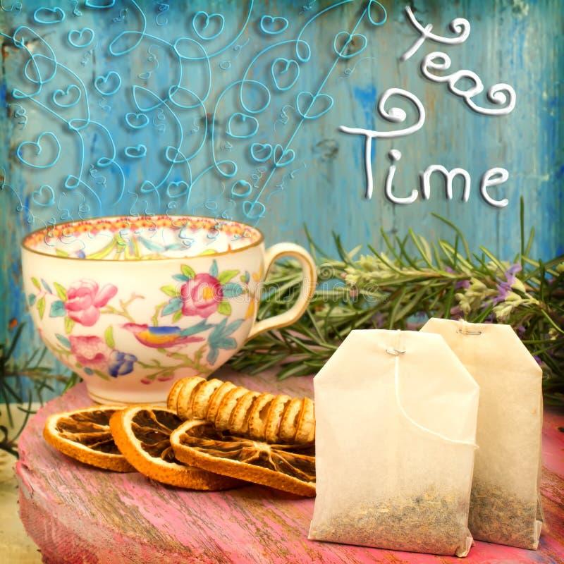 Fond gai de temps de thé image libre de droits