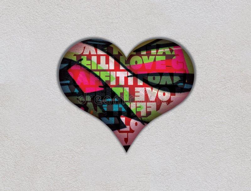 Fond gentil d'amour de graffiti de coeur photos libres de droits