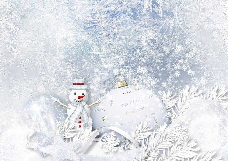 Fond glacial d'hiver avec les décorations et le bonhomme de neige de Noël illustration stock
